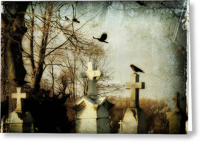 Ravens In Graveyard Greeting Cards - The Prelude Greeting Card by Gothicolors Donna Snyder