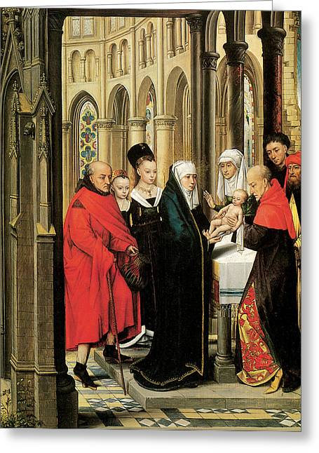 The Presentation In The Temple Greeting Card by Hans Memling