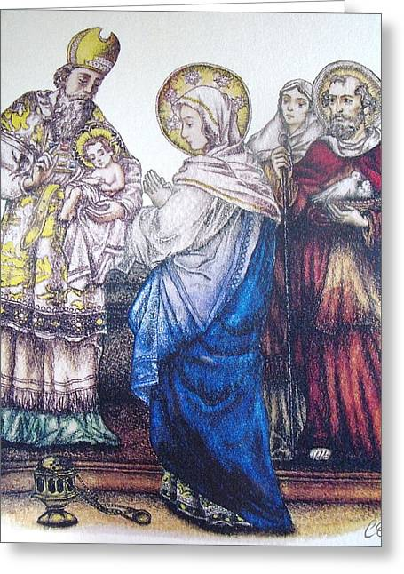 Cob Drawings Greeting Cards - The Presentation of Baby Jesus to the Temple Greeting Card by Conor OBrien
