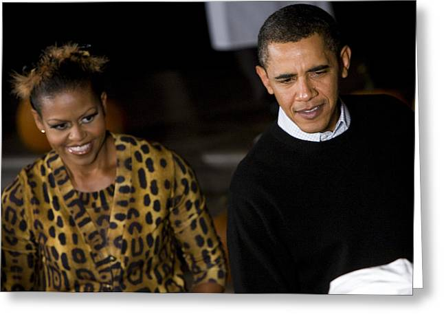 Michelle Obama Photographs Greeting Cards - The President and First Lady Greeting Card by JP Tripp