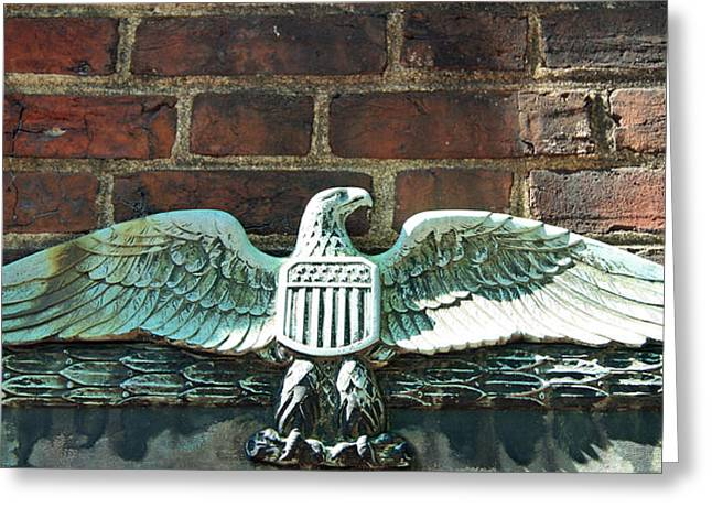 Dolley Greeting Cards - The Presidential Eagle Guards Dumbarton House Greeting Card by Cora Wandel