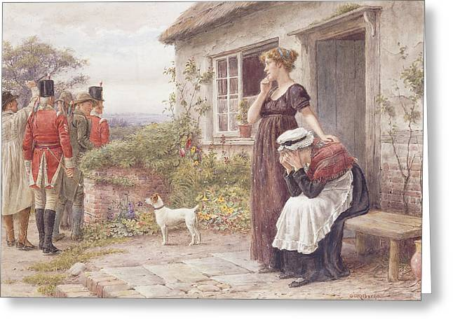 Consoling Paintings Greeting Cards - The Press Gang Greeting Card by George Goodwin Kilburne