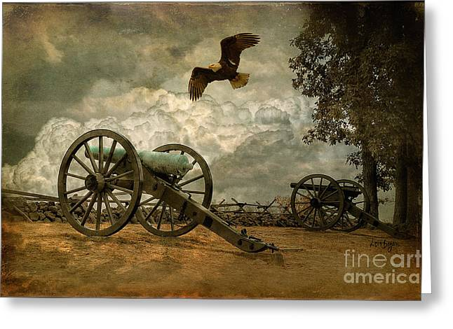 Cannon Greeting Cards - The Price Of Freedom Greeting Card by Lois Bryan