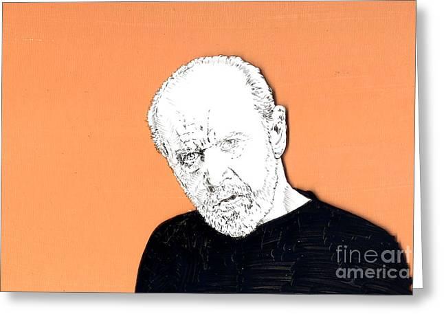 The Priest On Orange Greeting Card by Jason Tricktop Matthews