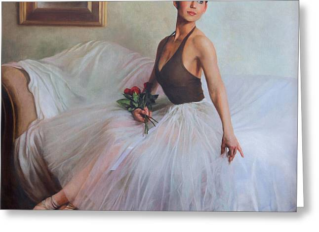 Ribbon Greeting Cards - The Prima Ballerina Greeting Card by Anna Bain