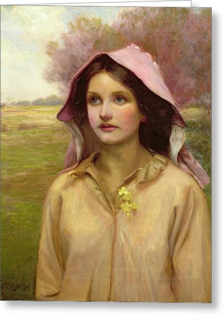 Bonnet Greeting Cards - The Primrose Girl Greeting Card by William Ward Laing