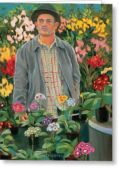 Flower Show Greeting Cards - The Primrose Man Greeting Card by Marguerite Chadwick-Juner