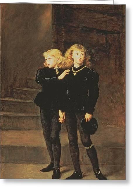 Princes Greeting Cards - The Princes Edward And Richard Greeting Card by Sir John Everett Millais