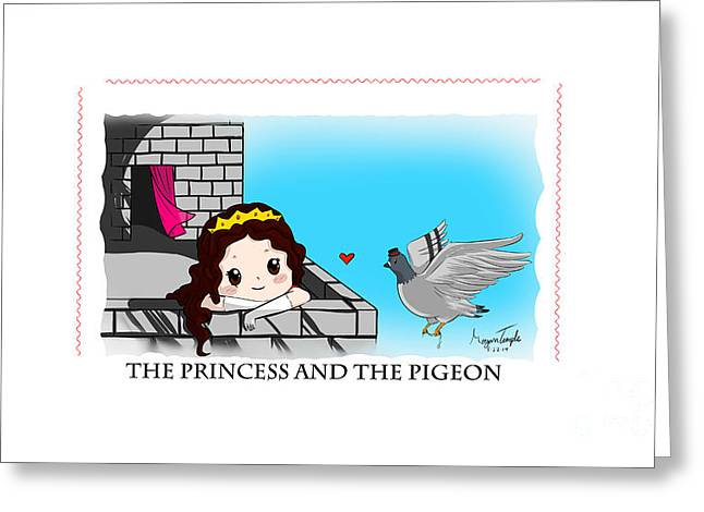 Gold Necklace Greeting Cards - The princess and the pigeon Greeting Card by Morgan Temple