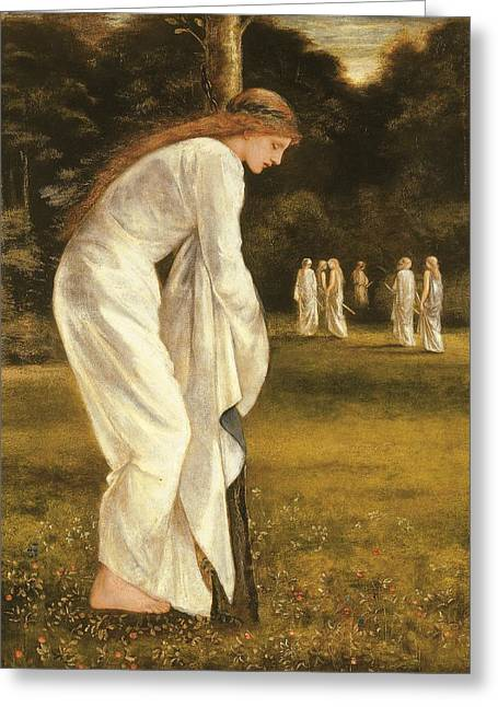 King Arthur Greeting Cards - The Princess Tied to a Tree Greeting Card by Sir Edward Coley Burne-Jones