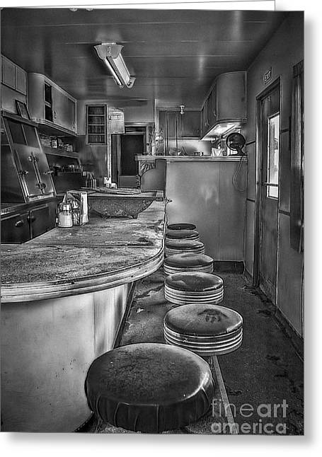 Old Diner Bar Stools Greeting Cards - The Print Greeting Card by Medicine Tree Studios