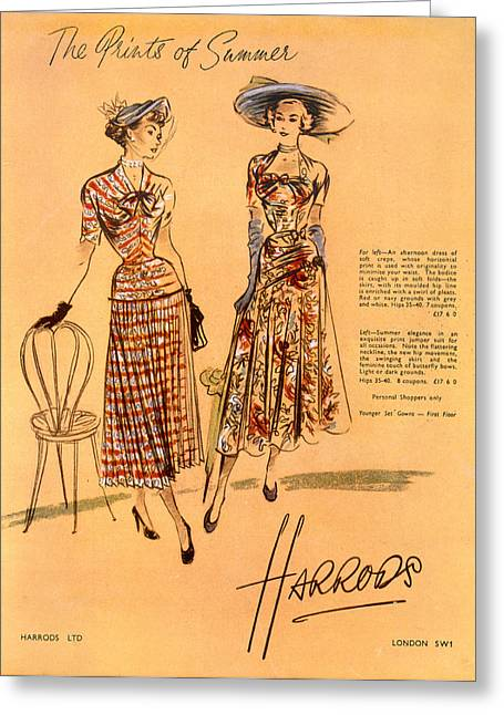 Advertisment Greeting Cards - The Prints Of Summer, From Harrods Ltd Greeting Card by English School