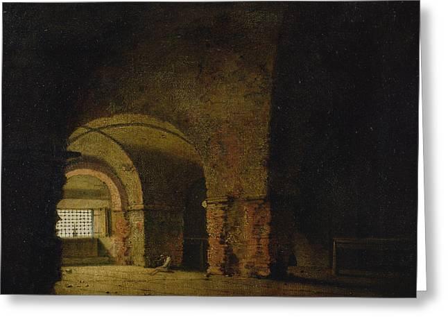 Dungeons Greeting Cards - The Prisoner, C.1787-90 Oil On Canvas Greeting Card by Joseph Wright of Derby