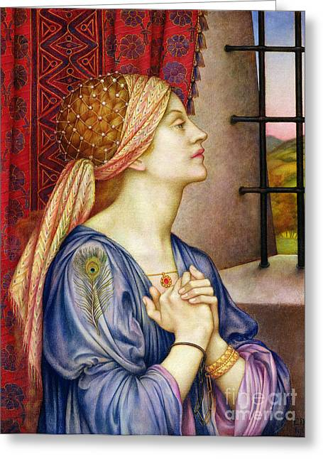 Prisoner Paintings Greeting Cards - The Prisoner Greeting Card by Evelyn De Morgan