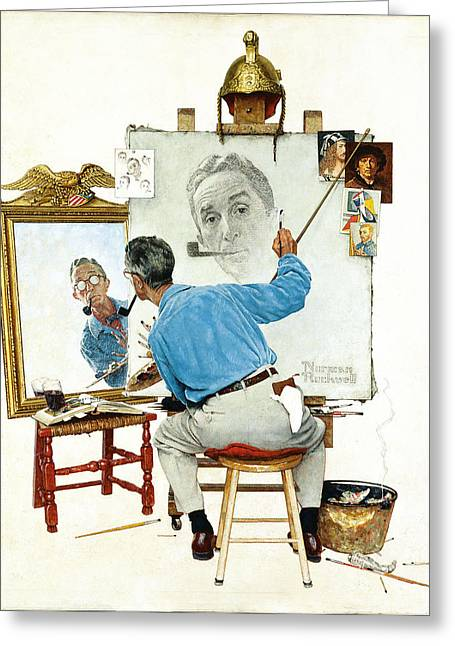 Print On Canvas Greeting Cards - The Problem We All Live With by Norman Rockwell Greeting Card by Nomad Art And  Design
