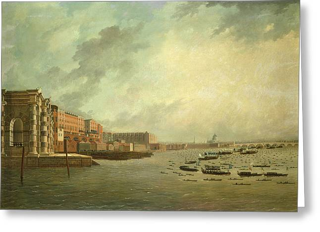 Lord Photographs Greeting Cards - The Procession Of Barges Attending Lord Nelsons Body From Greenwich Hospital, January 8th 1806 Oil Greeting Card by Daniel Turner