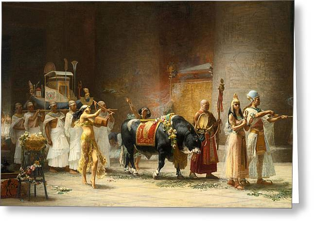 Frederick Greeting Cards - The Procession of the Bull Apis Greeting Card by Frederick Arthur Bridgman