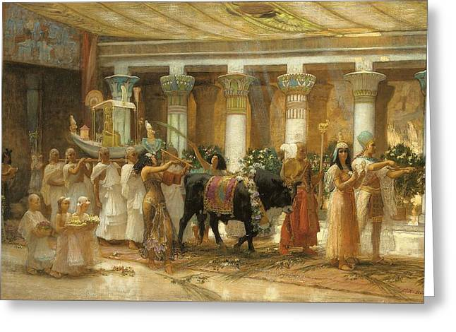 Pharaoh Greeting Cards - The Procession Of The Sacred Bull Greeting Card by Frederick Arthur Bridgman