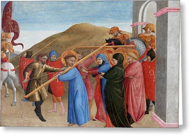 Gospel Greeting Cards - The Procession to Calvary Greeting Card by Sassetta