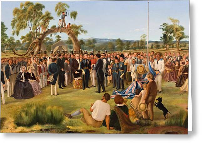 Proclamation Greeting Cards - The Proclamation of South Australia 1836 Greeting Card by Charles Hill