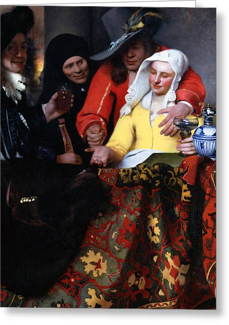 1656 Greeting Cards - The Procuress Greeting Card by Johannes Vermeer