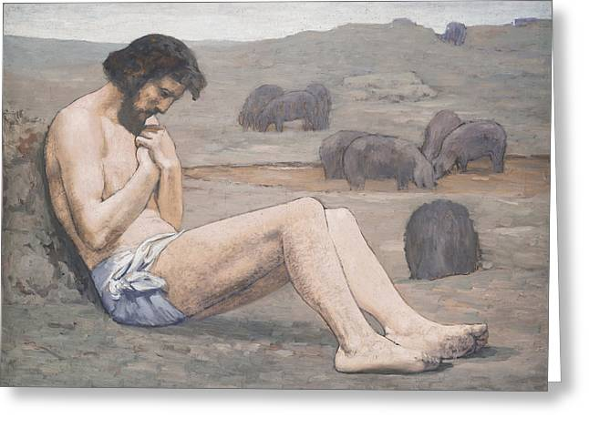 Man In The Wilderness Greeting Cards - The Prodigal Son Greeting Card by Pierre Puvis de Chavannes