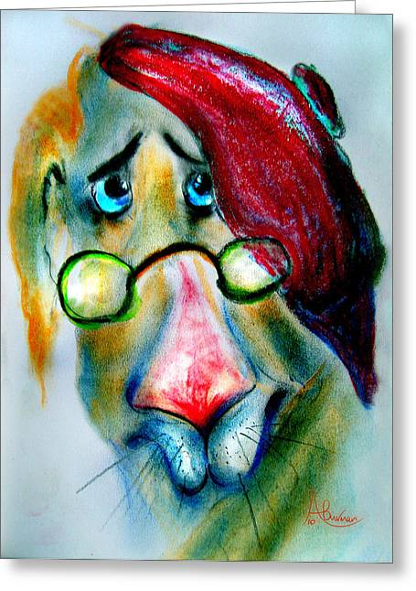 Characters Pastels Greeting Cards - The Professor Greeting Card by Angela Burman