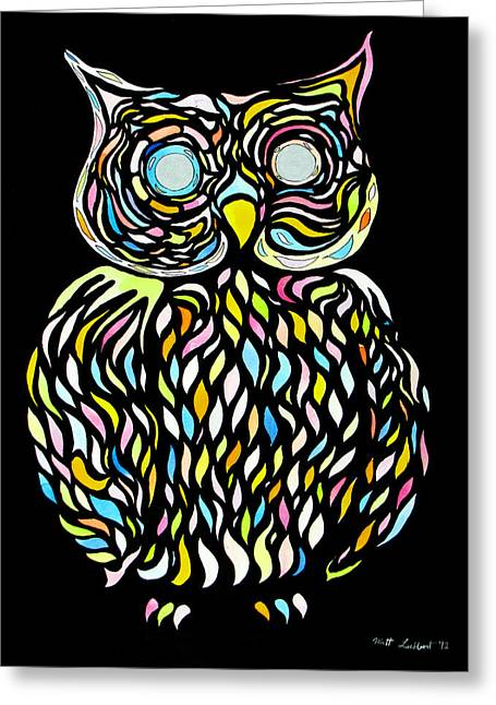 Psychedelic Owl Greeting Cards - The Professor Greeting Card by Mathew Luebbert