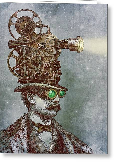 Machine Greeting Cards - The Projectionist Greeting Card by Eric Fan
