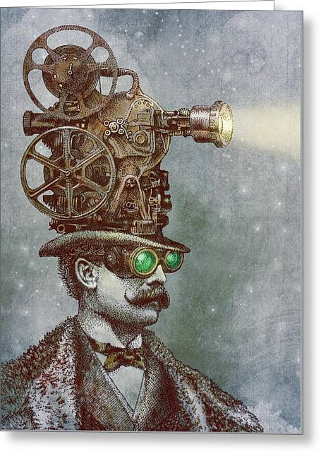 Moustache Greeting Cards - The Projectionist Greeting Card by Eric Fan