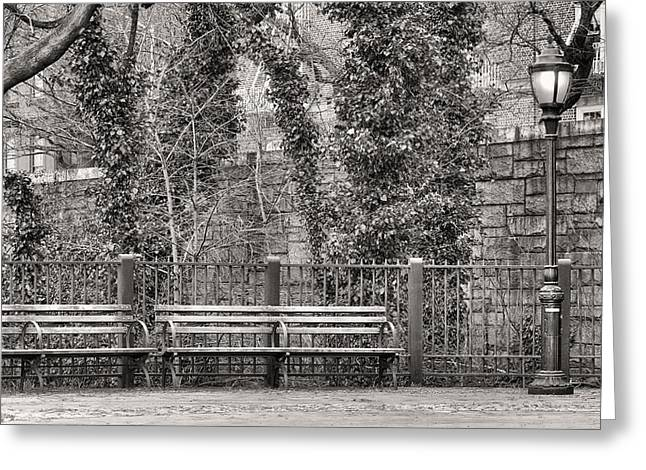 Brooklyn Promenade Greeting Cards - The Promenade BW Greeting Card by JC Findley