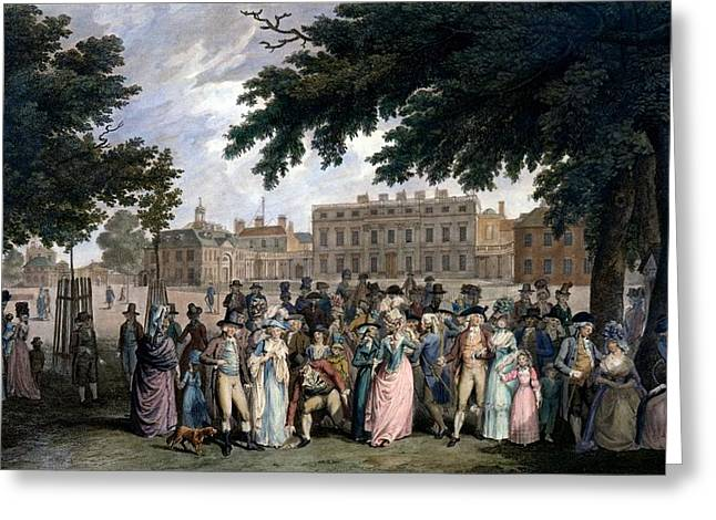 High Society Drawings Greeting Cards - The Promenade In St James Park, C.1796 Greeting Card by Edward Days