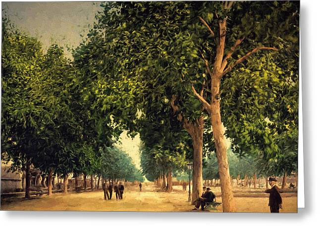 Old Digital Art Greeting Cards - The Promenade Greeting Card by John K Woodruff