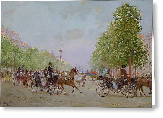 Horse And Carriage Greeting Cards - The Promenade On The Champs-elysees Oil On Canvas Greeting Card by Jean Beraud