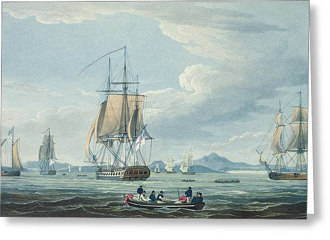 Sailboats In Harbor Greeting Cards - The Prometheus and the Melpomene in the Gulf of Riga Greeting Card by Thomas Whitcombe