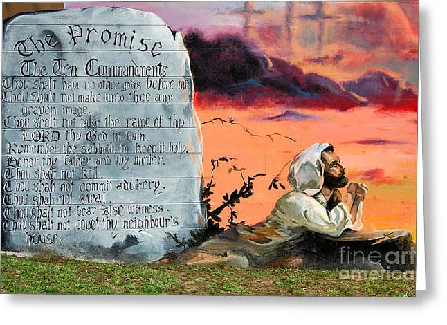 Praying To God Greeting Cards - The Promise - The Ten Commandments Greeting Card by Linda Rae Cuthbertson