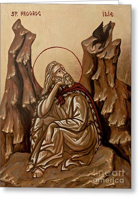 Handpainted Icon Greeting Cards - The Prophet Elijah Greeting Card by Olimpia - Hinamatsuri Barbu