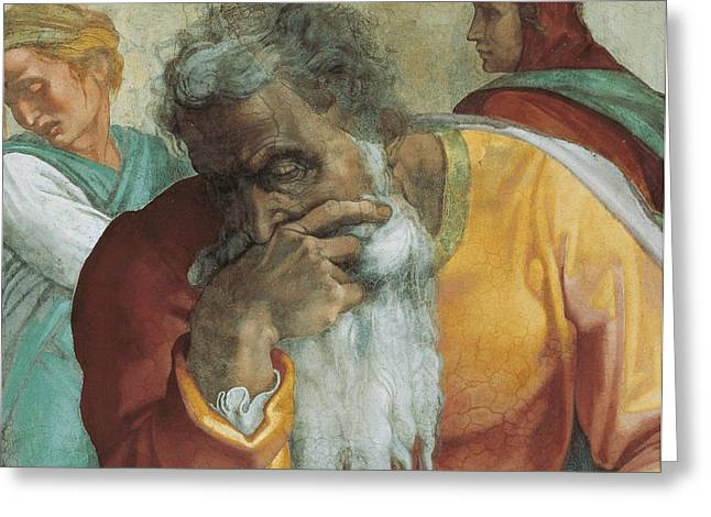 Old Man Greeting Cards - The Prophet Jeremiah Greeting Card by Michelangelo