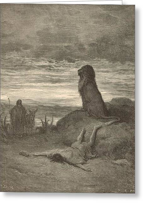 The Prophet Slain By A Lion Greeting Card by Antique Engravings
