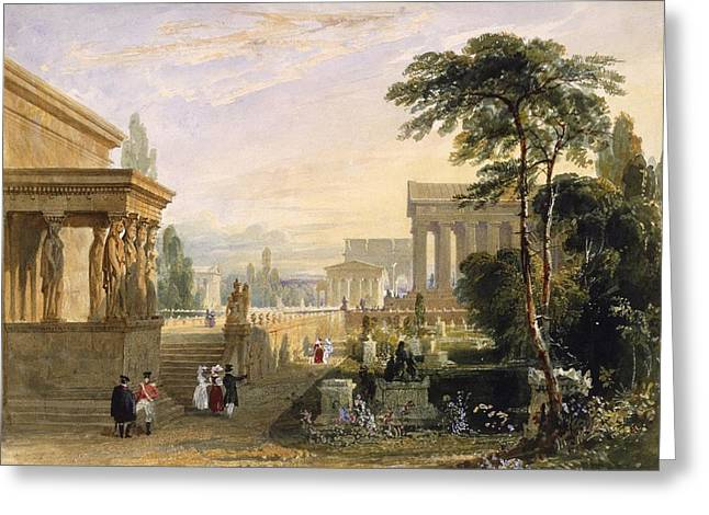 Caryatids Greeting Cards - The Proposed Grand National Cemetery Greeting Card by Francis Goodwin