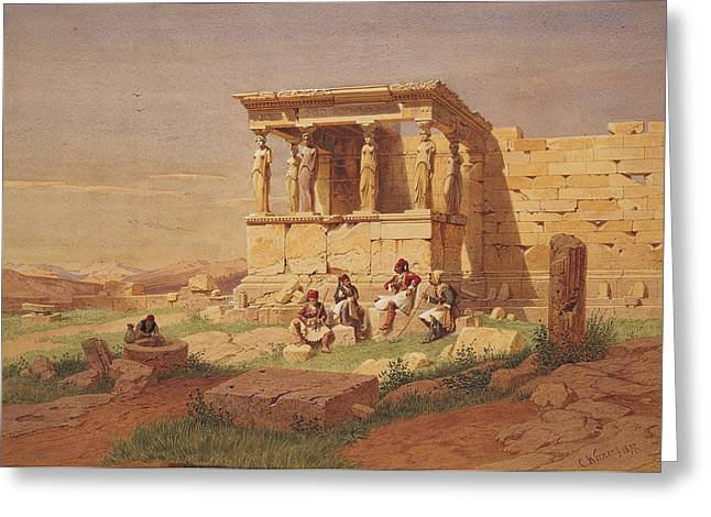 Caryatids Greeting Cards - The Prostasis of the Caryatids on the Erechtheion Greeting Card by Carl Werner