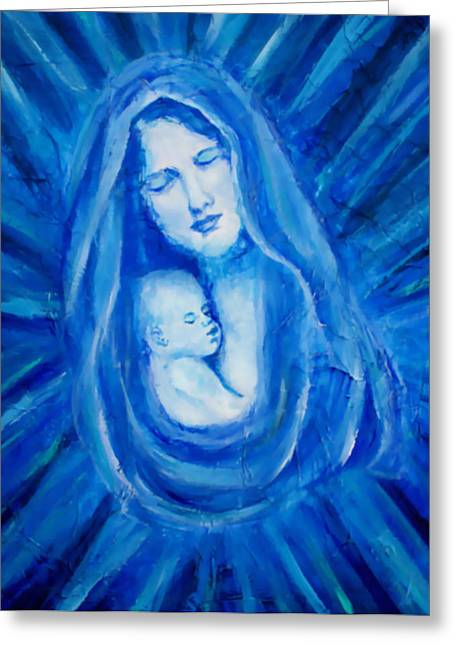 Jesus With A Child Greeting Cards - The Protecting Love Of A Mother And Her Child Greeting Card by The Art With A Heart By Charlotte Phillips