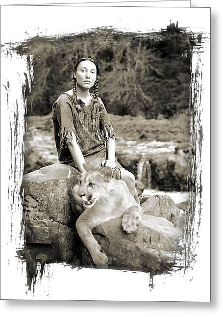 Native American Nude Woman Greeting Cards - The Protector Greeting Card by Ken Evans