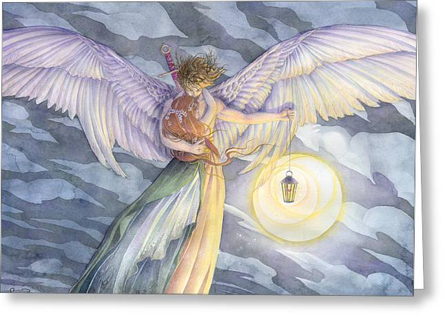 Guardian Angel Paintings Greeting Cards - The Protector Greeting Card by Sara Burrier