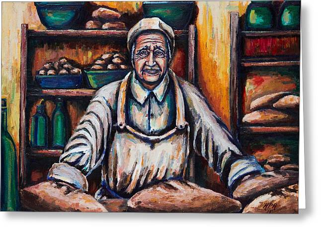 Loaf Of Bread Greeting Cards - The Proud Baker Greeting Card by Kevin Richard