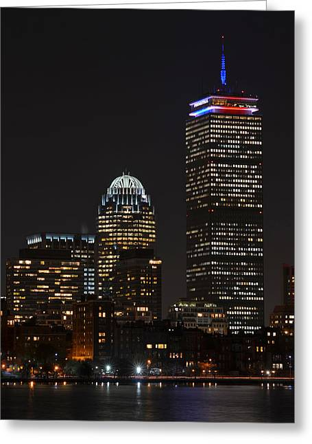 Oxford. Oxford Ma. Massachusetts Greeting Cards - The Prudential lit up in red white and blue Greeting Card by Toby McGuire