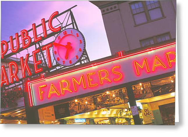 Wa Greeting Cards - The Public Market Seattle Wa Usa Greeting Card by Panoramic Images