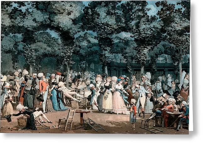Man And Woman Greeting Cards - The Public Promenade Greeting Card by Philibert-Louis Debucourt
