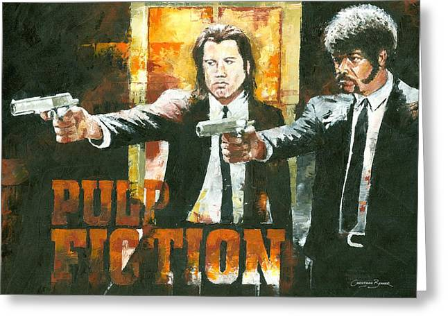 Samuel L Jackson Greeting Cards - The Pulp Fiction Greeting Card by Christiaan Bekker