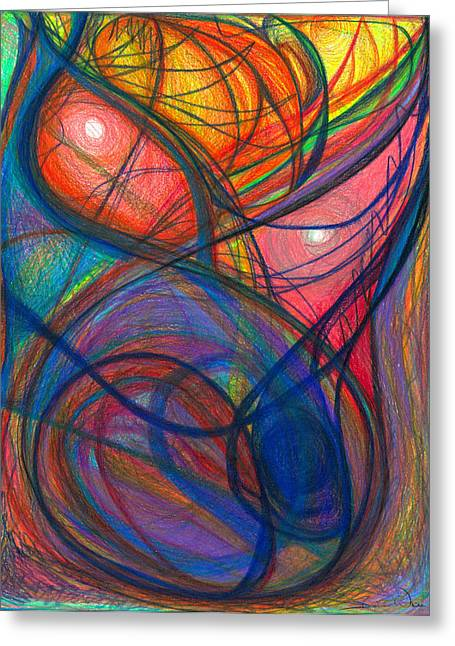 Organic Drawings Greeting Cards - The Pulse of the Heart Lies Strong Greeting Card by Daina White